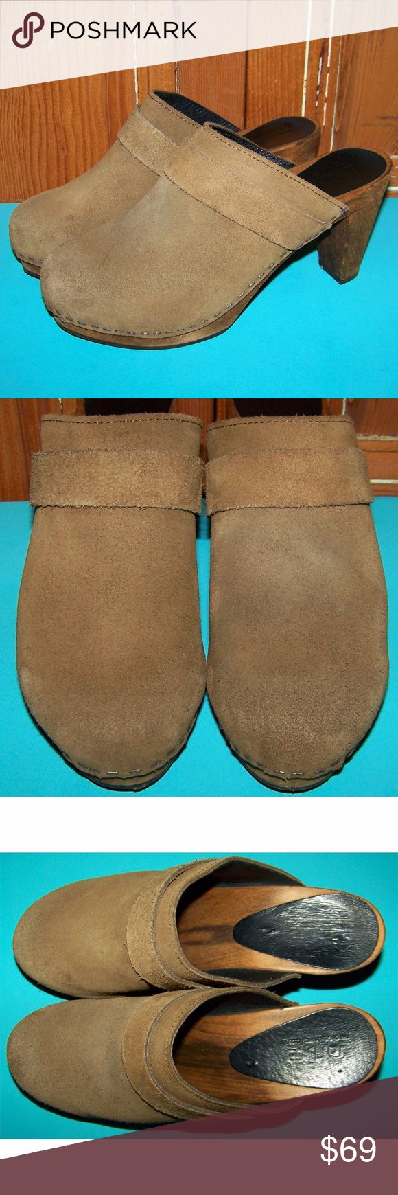 """Sanita Tanya Plateau Brown Wooden Mule Clogs Sanita Tanya plateau light brown suede leather wooden heel mules clog shoes. Excellent, few minor scuffs and scrapes, please see photos. Womens size US 9-9.5 EUR 40, heel height is 3.75"""". Clean and ready to wear. f852 Sanita Shoes Mules & Clogs"""