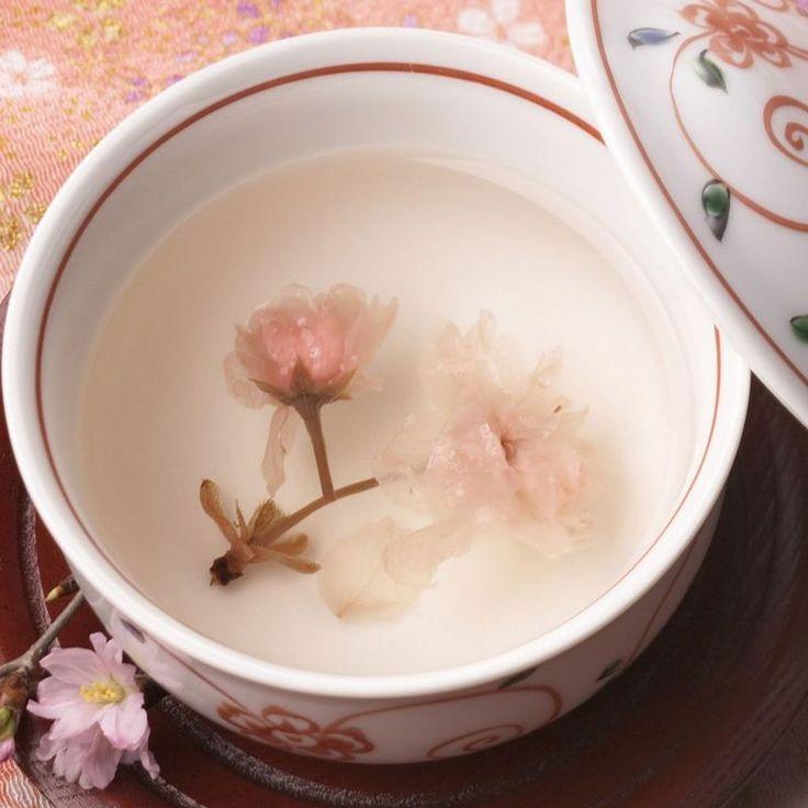 Japanese cherry blossom (sakura) tea for celebration 桜茶