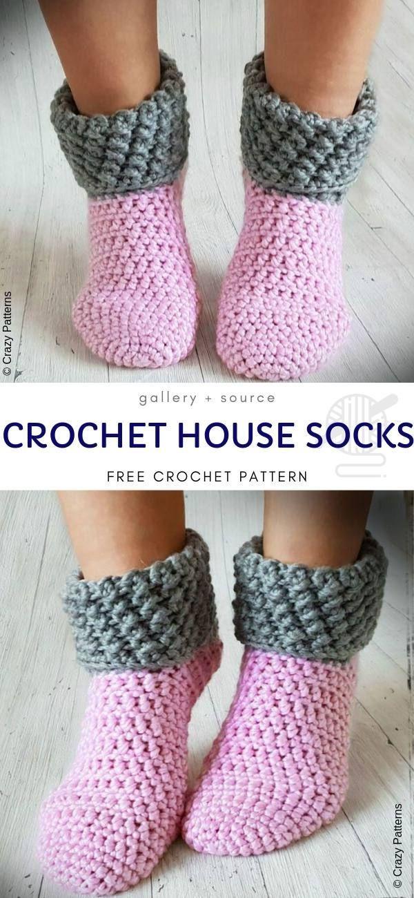 Häkeln HaussockenDiese rosa und graue Socken sind dick genug, um behandelt zu werden wie …   – Crochet for Women