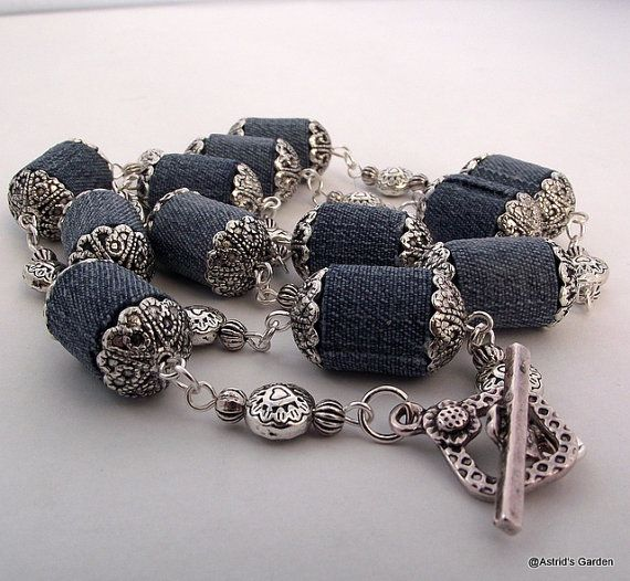 Necklace with denim fabric beads by AstridsJewelGarden on Etsy, £28.00