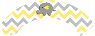 Baby Elephant in Grey and Yellow Chevron: Free Printable Wrappers and Toppers.