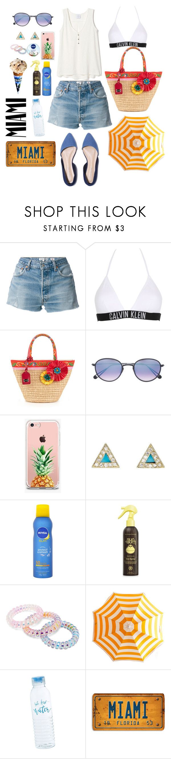 """""""Day In Miami"""" by valenlss ❤ liked on Polyvore featuring RE/DONE, Calvin Klein, Dolce&Gabbana, Garrett Leight, The Casery, Jennifer Meyer Jewelry, Nivea and Forever 21"""