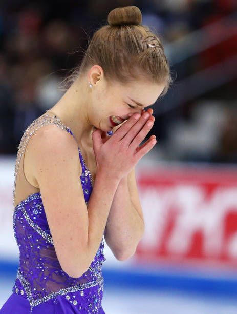 Nicole Rajicova of Slovakia reacts after performing in the Ladies Free Dance program on Day 3 of the ISU Grand Prix of Figure Skating at Herb Brooks...