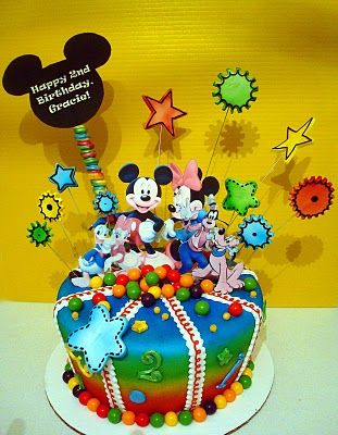 Mickey Mouse cake. Use candy balls instead of fondant balls at bottom of cake