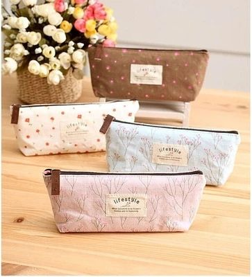 Kawaii canvas fabric floral flowers pencil case bag creative lovel ygift for girls school supplies wholesale free shipping 04816