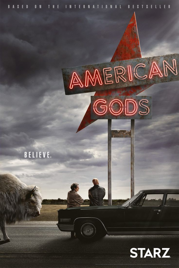 """Neil Gaiman's American Gods' Starz TV shows officially has its premiere date! Clear your April schedule, folks! Plus, new key art! Do you """"believe""""?"""