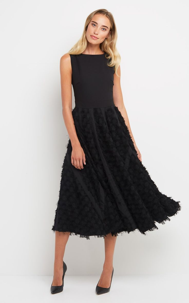 Fringe Volume Dress black   1