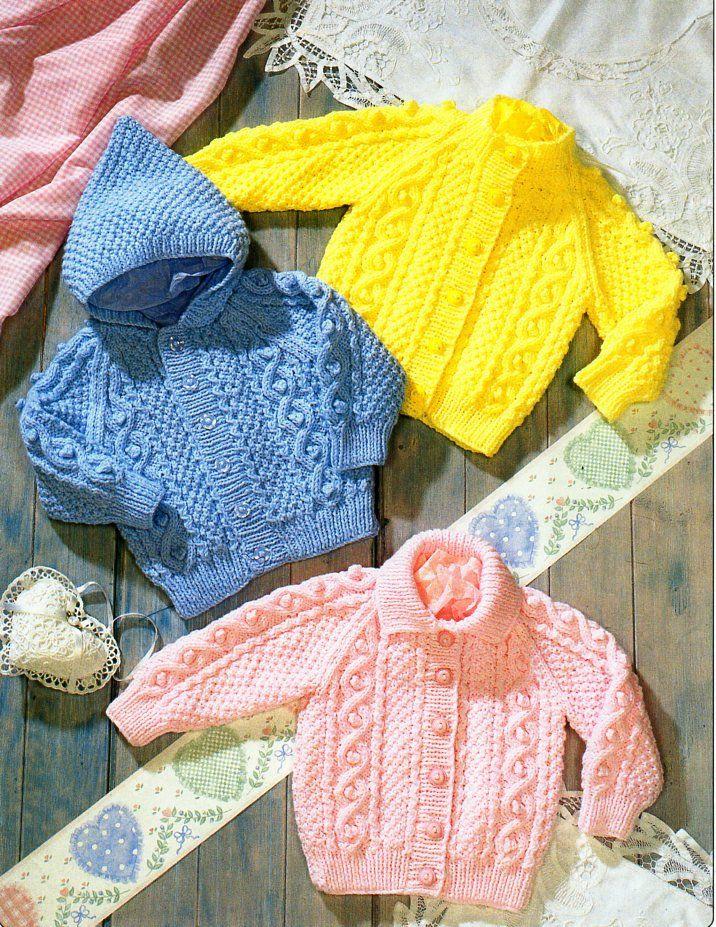 Baby Childrens Aran Cardigan Knitting Pattern Pdf Baby Cable Etsy Baby Cardigan Knitting Pattern Free Aran Knitting Patterns Baby Girl Knitting Patterns