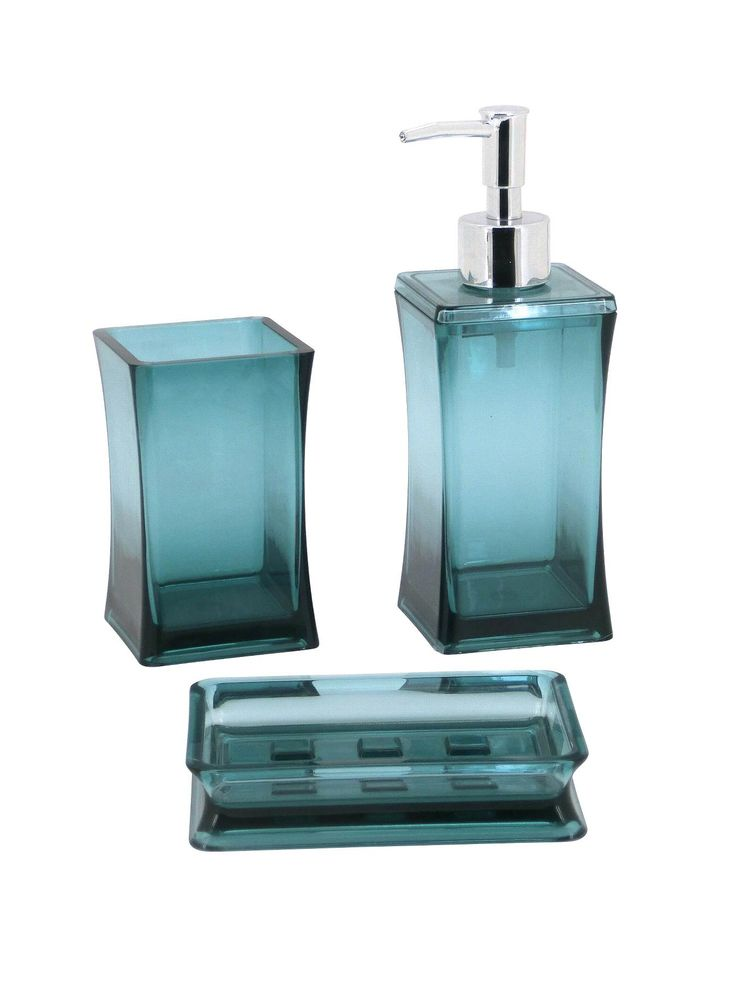 Stylish Bathroom Accessory Kit Comprising Soap Dispenser, Tumbler And Soap  Tray. Manufactured From Blue
