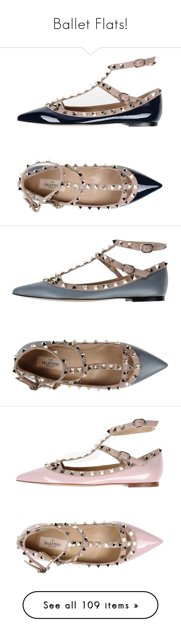 """Ballet Flats!"" by miss-image ❤ liked on Polyvore featuring shoes, flats, dark blue, valentino shoes, studded flats, ankle strap flats, studded ballet flats, ballerina flat shoes, grey and valentino flats"