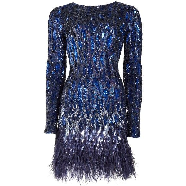 Matthew Williamson Liquid Sequin Feather Trimmed Mini Dress found on Polyvore