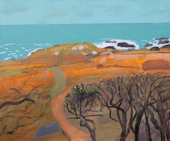 Walking Down Through the Gorse to Clodgy by Elaine Pamphilon | Mixed media on canvas | 100 x 120 cm #elainepamphilon #tannerandlawson #stilllife #cornwall #stives