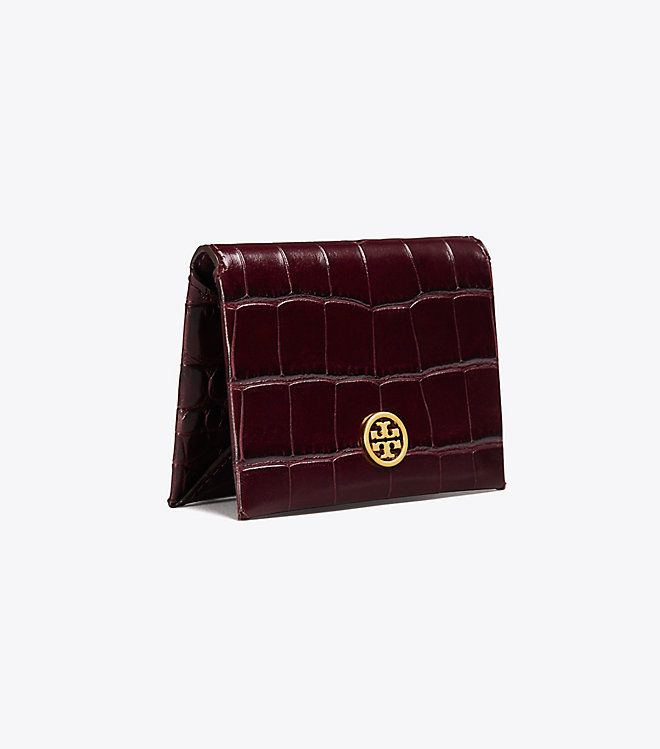 new style b79fa 5fab7 Tory Burch Parker Embossed Foldable Card Case Details: Color: Port ...