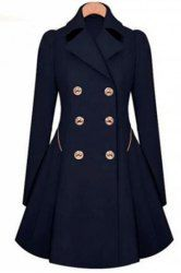 Fashionable Women's Turn-Down Collar Long Sleeve Double-Breasted Coat (CADETBLUE,2XL) | Sammydress.com Mobile