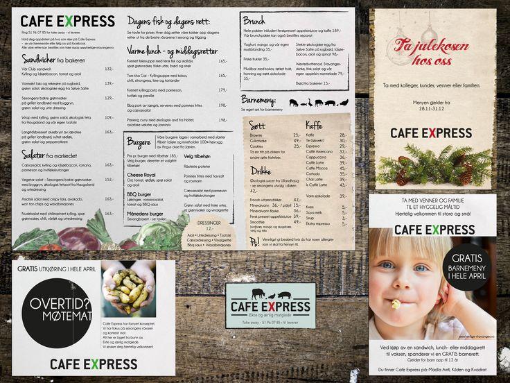 Graphic profile and menu design for Cafe Express restaurant in Stavanger. Grafisk profil og menydesign for Cafe Express restaurant i Stavanger