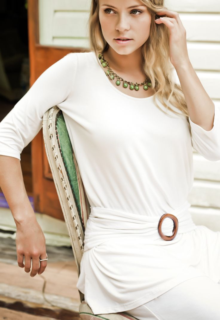 Bodypeace Mid Sleeve Tunic in Cream.. Our long time best seller. www.bodypeacebamboo.com