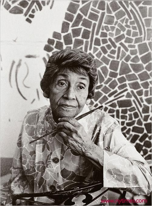 """Alma Woodsey Thomas developed her signature style — large, abstract paintings filled with dense, irregular patterns of bright colors — in her 70s,"" writes the National Museum of Women in the Arts. ""Thomas became an important role model for women, African-Americans, and older artists. She was the first African-American woman to have a solo exhibition at New York's Whitney Museum of American Art, and she exhibited her paintings at the White House three times."" Thomas battled the double…"