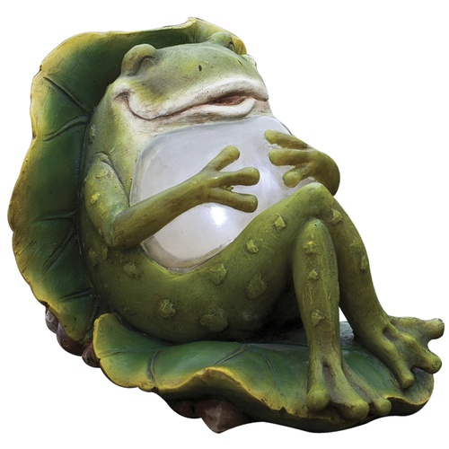 Zoomed: Garden Treasures Solar Lounging Frog Statuary