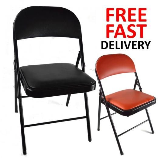 Honney New Metal Folding Chair Soft Leather Padded Seat Back Rest Stool  Office Outdoor Modern Any