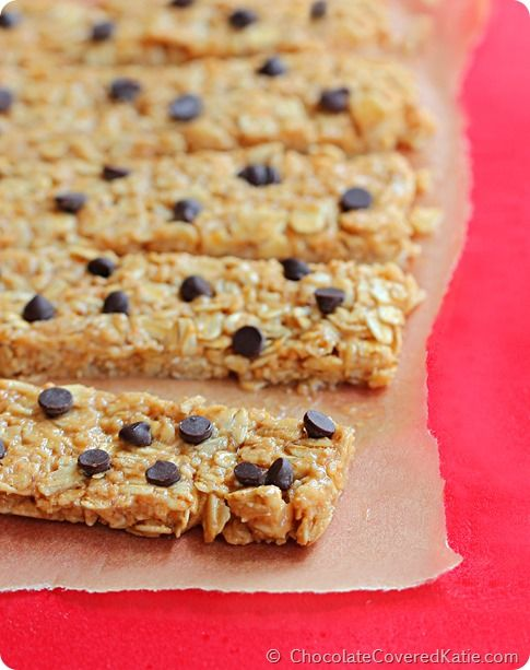 """The """"3 Minute"""" High Protein Granola Bars. Can be ANY flavor you choose! http://chocolatecoveredkatie.com/2014/08/11/protein-granola-bars/"""