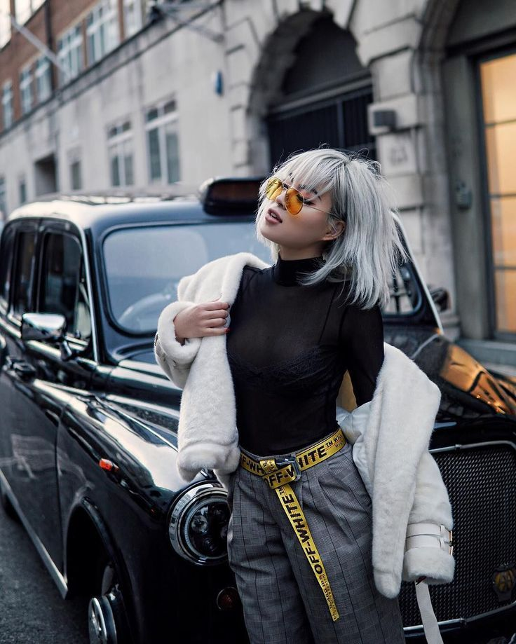 white fur with black turtleneck, off-white belt, trousers, street style, everyda