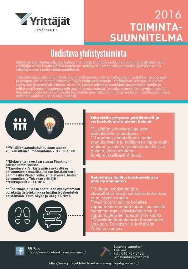 Jyvässeudun yrittäjien toimintasuunnitelma 2016. Toimin varapuheenjohtajana.