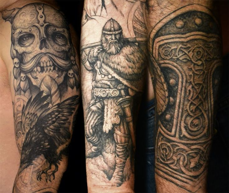 Viking tattoos grey ink viking tattoo on left sleeve for for Viking sleeve tattoos