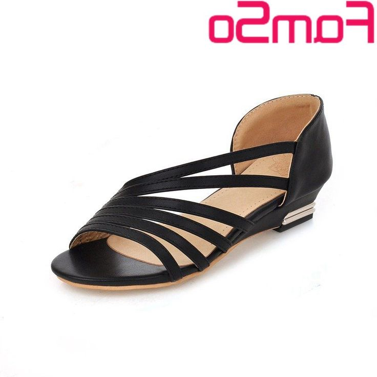 35.00$  Buy here - http://alir2q.worldwells.pw/go.php?t=32615194336 - Plus Size34-43 2016 New Gladiator Sandals Peep toe Wedges Sandals black green White office Ladies Shoes Platforms Sandals FS435