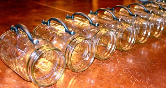 Mason jar mugs with drawer handles by beeziemos (etsy)