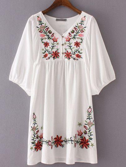 Vestido suelto cuello V-blanco