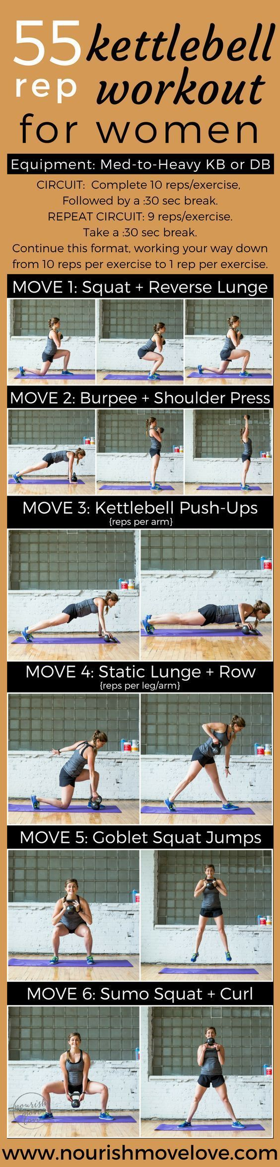 6 exercises, 55 reps, 30-minute total body strength and conditioning kettlebell workout. Perfect at-home or gym workout that targets your full body – upper body, arms, lower body, butt. Get fit for summer with this workout challenge. Squat, lunge, burpee,