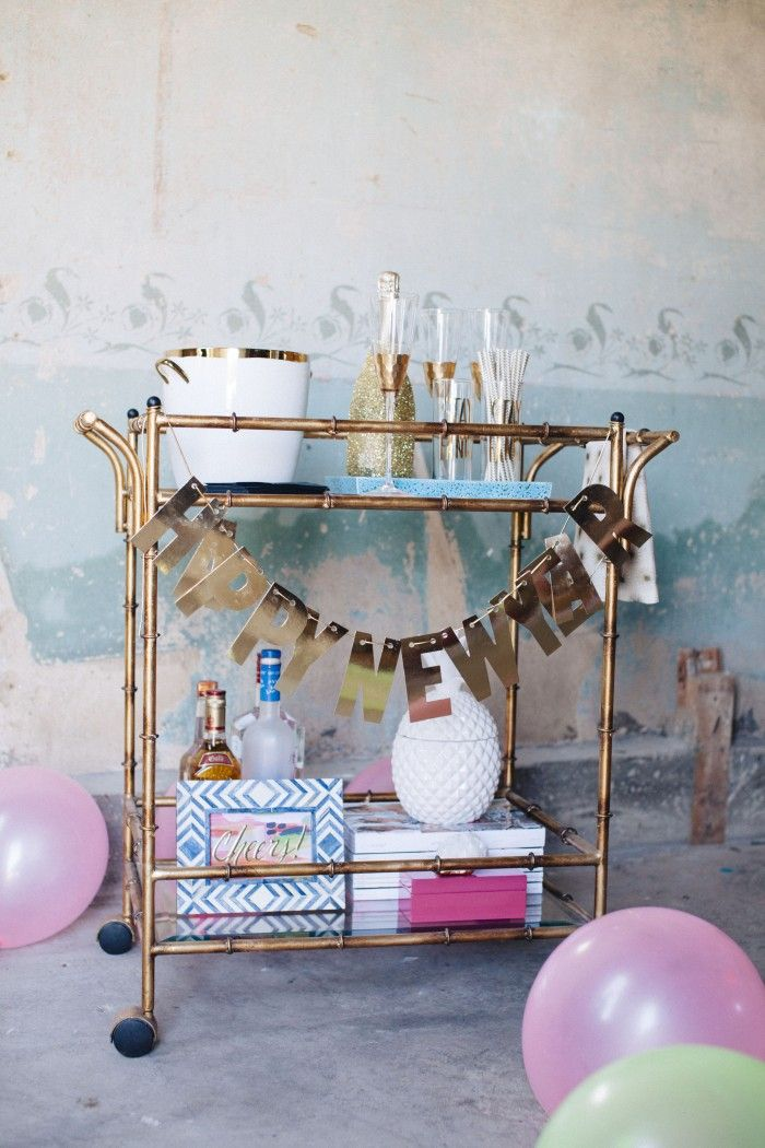 how to style a new yearus eve bar cart with mintwood home