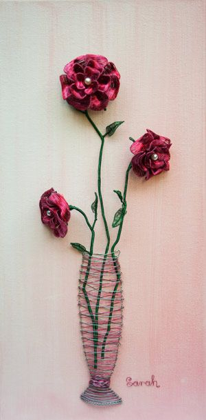 Wire Art on canvas: Long-stem red and pink wire roses on canvas by Sarah Jansma