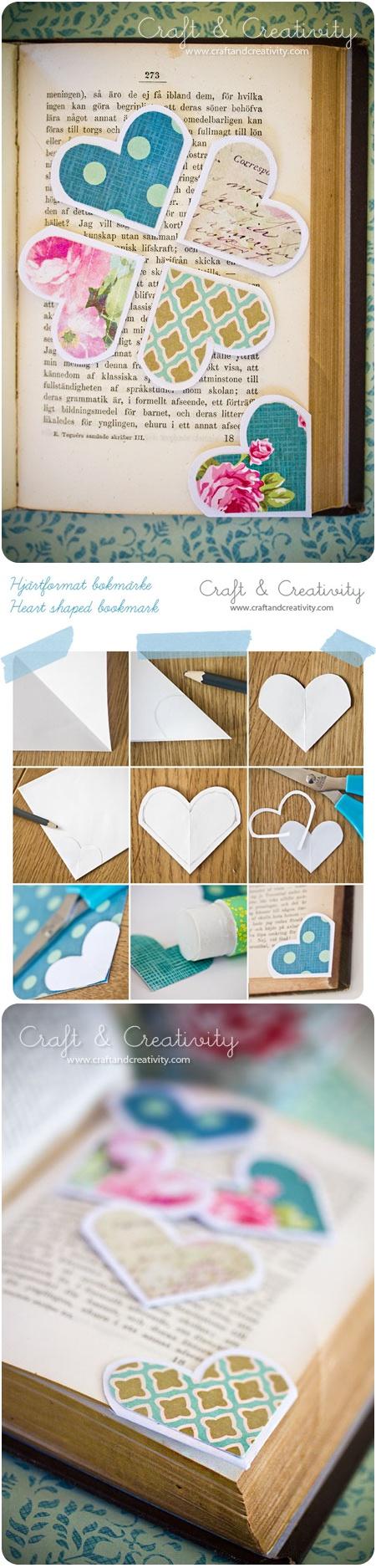 Corner bookmarks - heart shaped