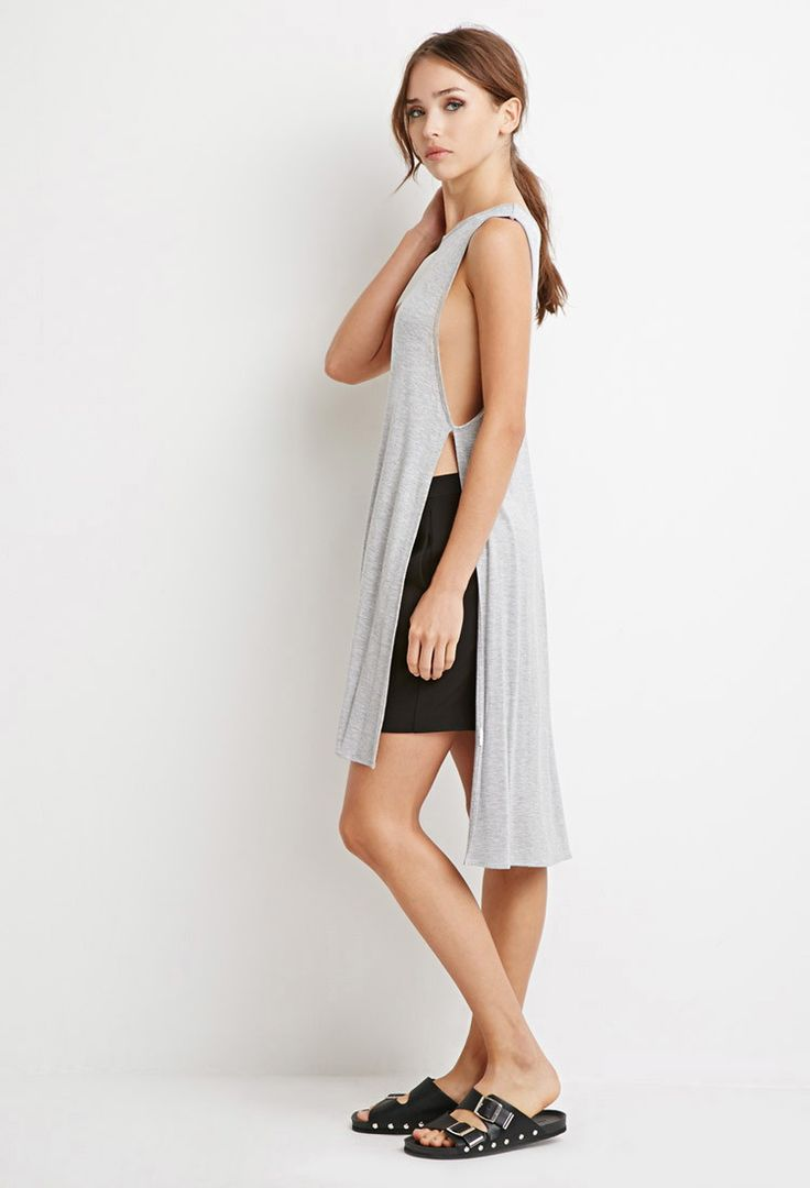 High-Slit Longline Top | Forever 21 Canada