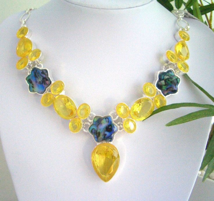 Lime Yellow Crystals, Abalone Shell Silver-Plated Vibrant and Dazzling Bib Necklace!! by Ameogem on Etsy