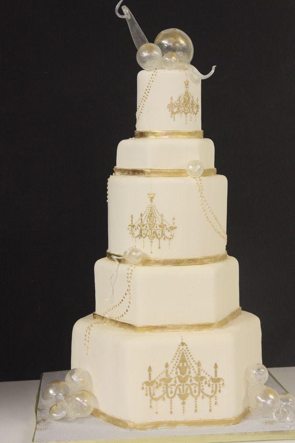 Gold Chandelier Blown Sugar Decor On A Stencil Cake