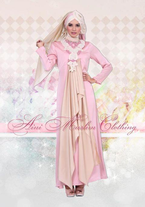 Gamis Mewah Aini Kombinasi Warna Cantik Pink
