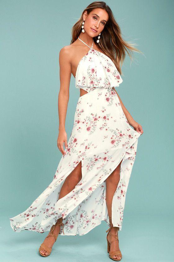 Lost   Wander Malibu White Floral Print Maxi Dress 1