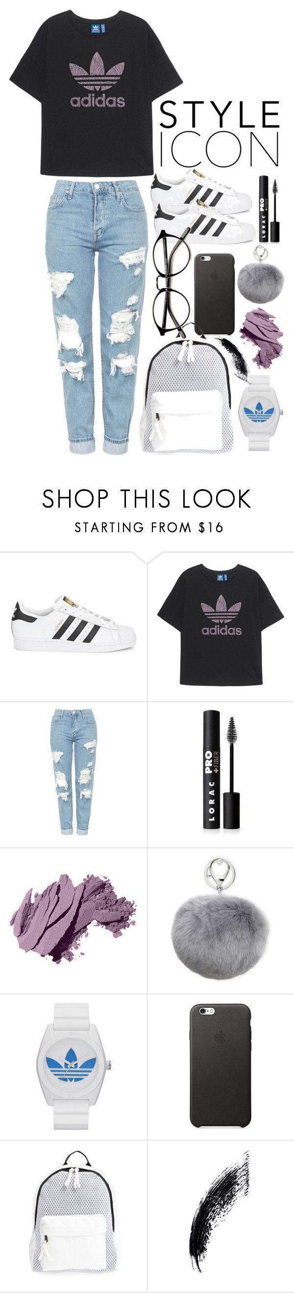 """cute outfit"" by katieivory ❤ liked on Polyvore featuring adidas Originals, Topshop, LORAC, Bobbi Brown Cosmetics, Adrienne Landau, adidas and Poverty Flats"