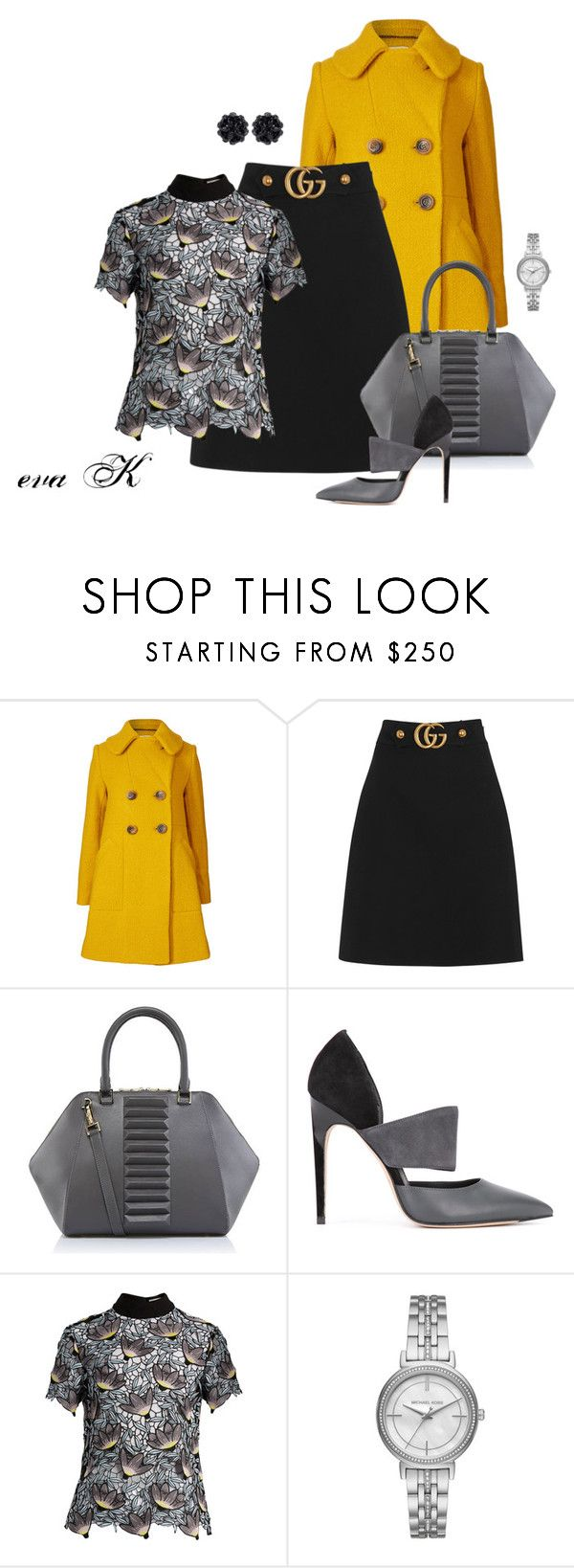 """""""3 colors challenge: Black, Gray and Yellow"""" by eva-kouliaridou ❤ liked on Polyvore featuring Orla Kiely, Gucci, Kristina George, Calvin Klein, self-portrait, Michael Kors and Simone Rocha"""
