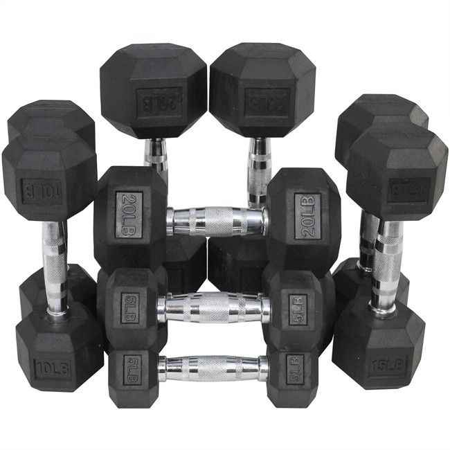 (5, 10, 15, 20, 25lbs) Black Rubber Coated Hex Dumbbell set
