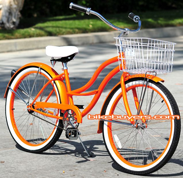 Orange lady's cruiser from bikebuyers.com . White tire walls, seat, and basket. Single speed.