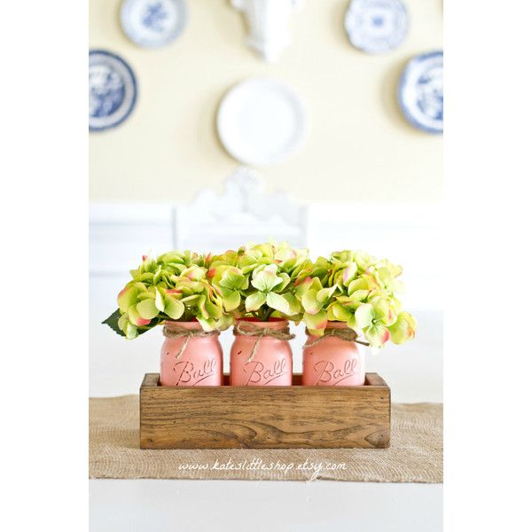 Rustic Planter Box with 3 Painted Mason Jars. Mason Jars. Rustic Home... ($45) ❤ liked on Polyvore featuring home, home decor, small item storage, rustic planter box, rustic home decor and rustic home accessories