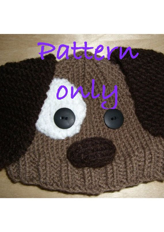 PATTERN Hand knitted brown puppy dog hat for by NiftyNookDesigns, $8.00
