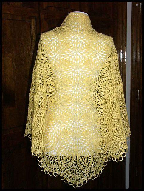 """Ostrich Plumes & Pineapples"" knit lace shawl in wool fingering weight yarn (pattern by Glenda F. Hunt)"