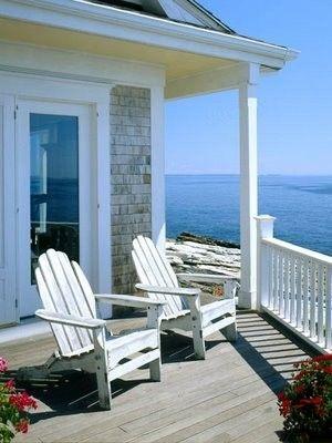 beach home, what I wouldn't give!!Adirondack Chairs, Beach Cottages, Dreams, Beach Houses, The View, The Ocean, Coastal Living, Porches, Beachhouse