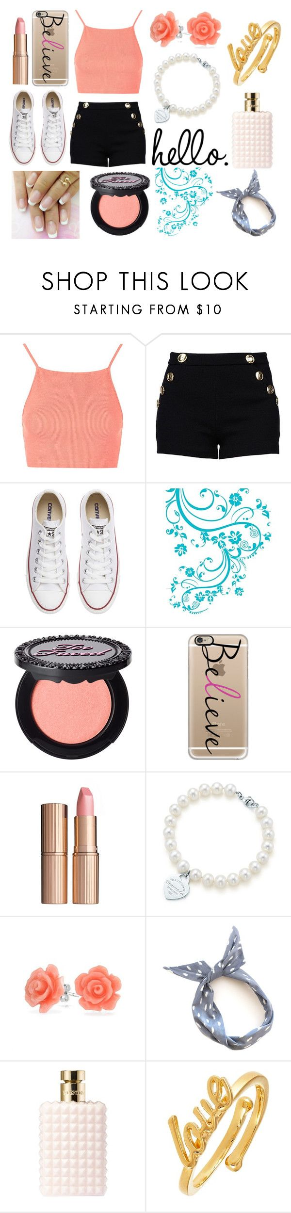 """Untitled #77"" by makeup19 ❤ liked on Polyvore featuring Topshop, Boutique Moschino, Converse, WALL, Too Faced Cosmetics, Casetify, Charlotte Tilbury, Tiffany & Co., Bling Jewelry and Valentino"
