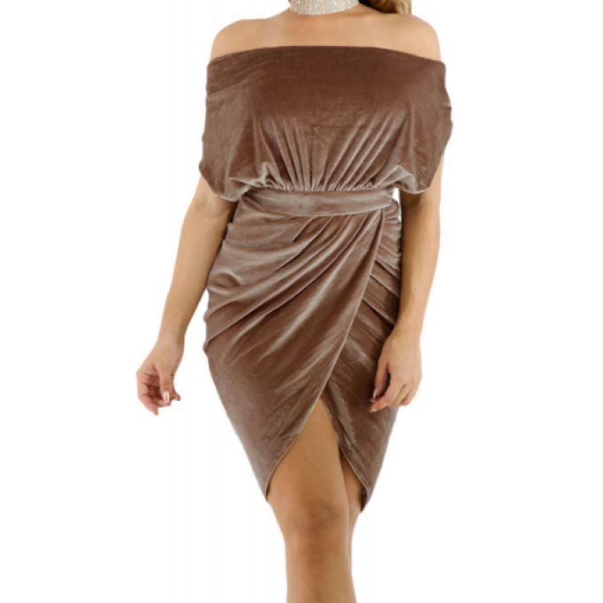 Robe de soirée velours décolleté plongeant drapé - bestyle29.com