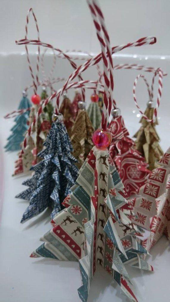 Paper Christmas tree decorations #christmastreedecoration Holiday